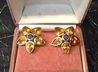 2-TONE SAPPHIRE EARRINGS (YELLOW & BLUE GENUINE SAPPHIRES) 18K.
