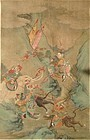 CHINESE QING DYNASTY SCROLL WITH HUNTERS & MYSTICAL BEASTS