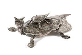 ANCIENT SILVER DRAGON TURTLE WITH BABY, 19th CENTURY, CHINA