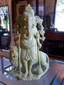 GANESHA-GANESH SERPENTINE CARVING WITH MAJESTIC LION
