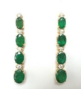 PAIR OF BEAUTIFUL DANGLING GENUINE EMERALD & DIAMOND EARRINGS 14K GOLD