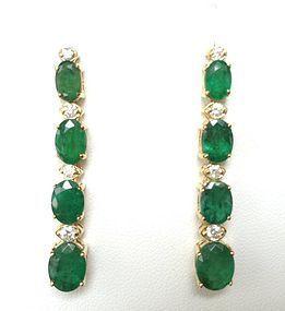 PAIR OF BEAUTIFUL DANGLING GENUINE EMERALD & DIAMOND EARRINGS 14K GOLD