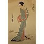 JAPANESE POLYCHROME WOODBLOCK UKIYO-E BY UTAGAWA TOYOKUMI, 1795.