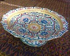 POLYCHROME THAI CERAMIC OFFERING STEM PLATE