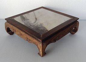 MINIATURE SQUARE WOODEN BONSAI TABLE WITH MARBLE TOP