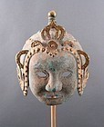 RARE MOUNTED THAI ANTIQUE BRONZE MASK-HELMET WITH GILDING, ca. 1900