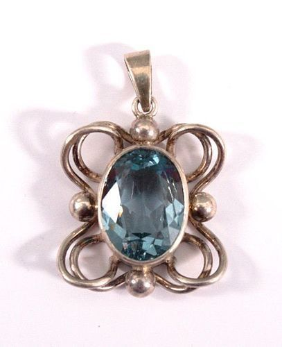 ANTIQUE GENUINE EUROPEAN FACETED AQUAMARINE/SILVER PENDANT