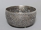 THAI SILVER OFFERING BOWL WITH RELIEF DECOR, 19TH CENTURY