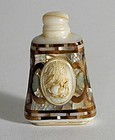 RARE & UNUSUAL WHITE STONE SNUFFBOTTLE INLAID WITH MOTHER OF PEARL