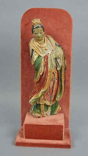 17/18th Century CHINESE POLYCHROME PAINTED STUCCO IMMORTAL