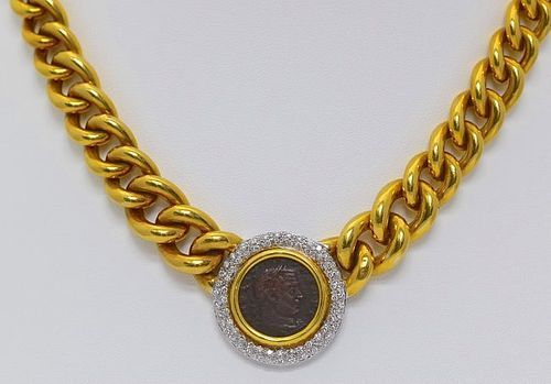 18K. GOLD NECKLACE WITH ANCIENT ORIGINAL ROMAN COIN AND DIAMONDS