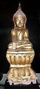 Wooden Gilt Buddha, Shan State Burma, 19th Century