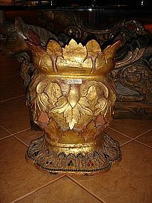 Pair Antique gilt Wooden Bases, 19th Cent. Burma