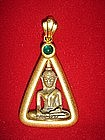 Gold Pendant-Amulet with Buddha and Cabochon Emerald