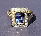 Genuine Ceylon Blue Sapphire/Diamond Ring 18K