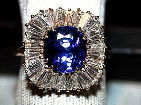 Ceylon Blue Sapphire/Diamond Ballerina Ring 18K