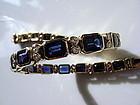 Genuine Blue Sapphire and Diamond Bracelet, 18K. Gold