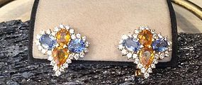 Genuine Sky Blue/Yellow Sapphire/ Diamond Earrings 18K