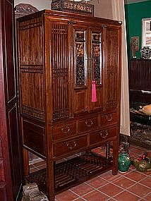 Antique Chinese Elm Wood Cabinet, 19th Century