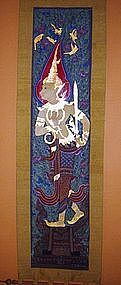 Thai Scroll Painting of Temple Guardians/Angels (pair)