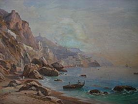 Original Watercolor Painting by S. Corrodi, 1865 AMALFI