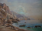 Original Watercolor Painting by S. Corrodi, 1865 AMALFI