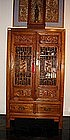 Chinese Wooden Cabinet with Lattice Work, Qing