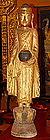 Large Gilt Wooden Disciple, 19th Cent. Thailand