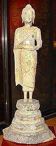 Exceptional Standing Rattanakosin Bronze Thai Buddha
