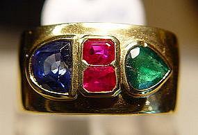 Sapphire/Ruby/Emerald Ring 18K. Yellow Gold