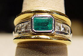 2-Tone 18K. Gold Ring with Emerald and Diamonds