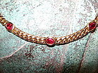 Solid Gold 18K. Necklace set with 7 genuine rubies