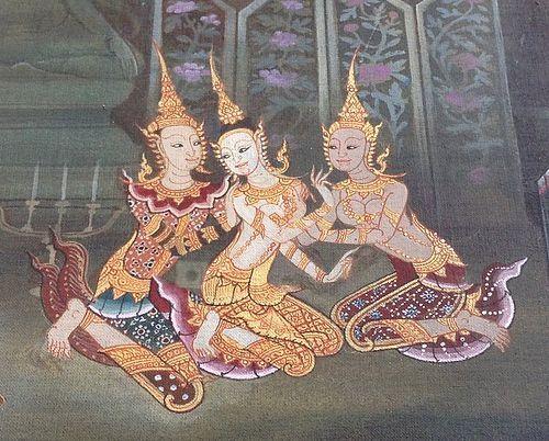 "Original THAI Acrylic Painting by Hattai Bunnag, ""Busaba/Inau"""