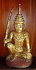Gilt Wooden Nat, MIN GYI/MIN LAY, 19th Cent., Burma