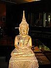 Lanna Thai Dhyana Mudra Buddha on high stepped Throne