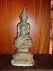 Superb Shan Bronze Buddha on stepped Throne, 18/19th C.