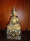 Unusual ethnic Lanna Wooden gilt Buddha, 19th Cent.