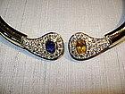 Spectacular genuine Sapphire and Diamond Necklace 18K.