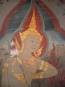 Tempera Scroll Wall Hanging with Angel, Thailand