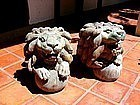 Rare MANDALAY Carved Antique Wooden Lions, 19th Century