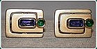 Stunning Sapphire and Emerald 18K. Gold Cuff links