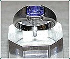 Genuine Octagon Sky Blue Sapphire Ring 18K. white gold