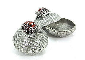 Pewter Shell Box with Enameled Sea Turtle