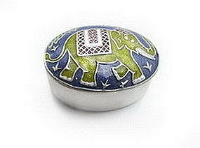 Versatile Enameled Pewter Elephant Box