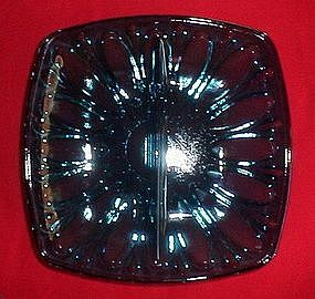 Blue Pattern Glass Divided Candy Dish