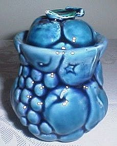Majolica Style Blue Fruit Sugar Bowl