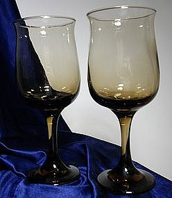 Libbey Rock Sharp Tulip Shape Stemware Brown