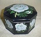 Hinged White Rose Tin