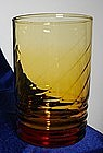 Libbey Amber Swirl and Rib Glass Tumbler