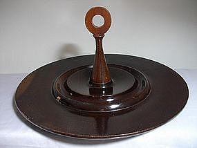 Vintage Woodturning Round Tray w/Handle